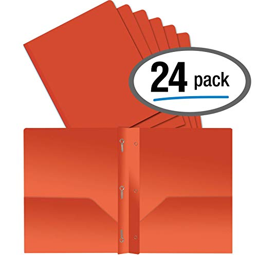 (Better Office Products Orange Plastic 2 Pocket Folders with Prongs, Heavyweight, Letter Size Poly Folders, 24 Pack, with 3 Metal Prongs Fastener Clips, Orange)
