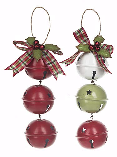 (Set of 2 Red White and Green Jingle Bells with Holly Berry Christmas Ornaments )