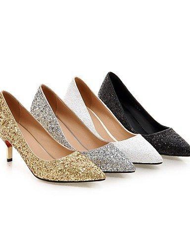 ShangYi Damenschuhe - High Heels - Hochzeit / Büro / Party & Festivität - Kunstleder - Stöckelabsatz - Absätze - Schwarz / Weiß / Silber / Gold White