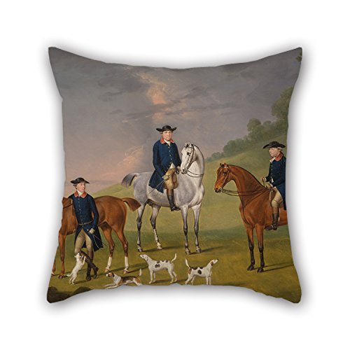 Biekxrso 16 X 16 Inches/Oil Painting Francis Sartorius - John Corbet, Sir Robert Leighton and John Kynaston with Their Horses and Hounds Pillow Covers,Twice Sides is Fit for Husband,bf,s