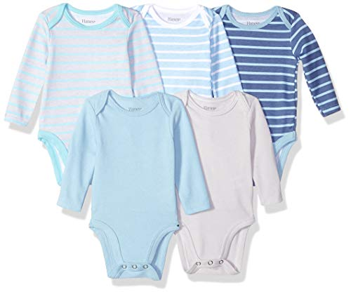 Hanes Ultimate Baby Flexy 5 Pack Long Sleeve Bodysuits, Blue Stripe 6-12 Months