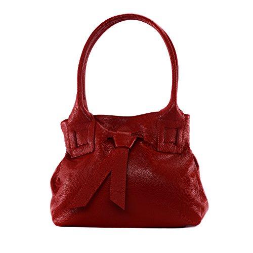 OH MY BAG Borsa pelle donna - Modello Noody - Borsa a mano e a spalla rosso chiaro