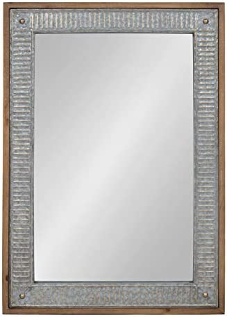 Kate and Laurel Deely Wood and Metal Framed Wall Mirror, 27×39, Rustic Brown