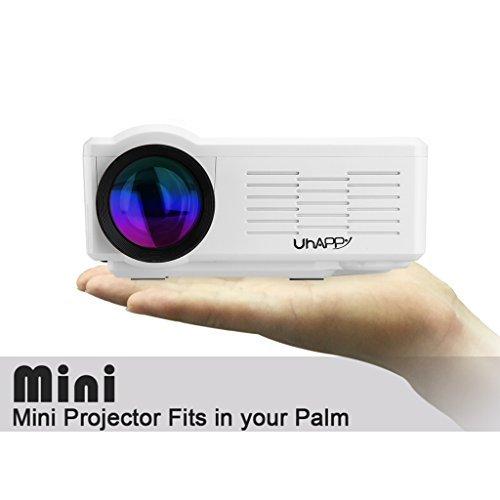 Uhappy multimedia mini LED Projector 800 lumens LCD LED display Home Theatre cinema 640480 USB/SD/VGA/HDMI/AV/Micro USB/ATV (Ivory) [並行輸入品]   B077LGJVWL