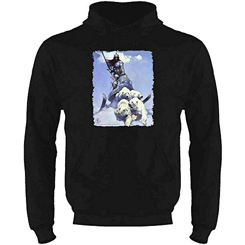 Silver Warrior by Frank Frazetta Art Black XL Mens Fleece Hoodie Sweatshirt