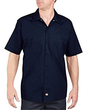 Men's Lined Short Sleeve Industrial Poplin Work Shirt, Navy, Small