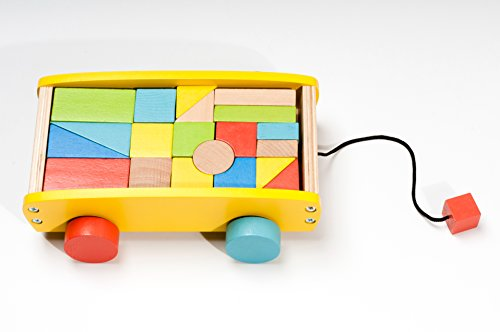 BooKid Durable and Colorful Wooden Blocks Wagon Toy for Toddlers -Includes 20 Blocks for Stacking, Sorting, Counting, and Building