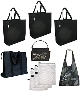 Reusable Foldaway Tote Shopping bag Clip New With Tags Black