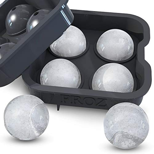 Housewares Solutions Froz Ice Ball Maker - Novelty Food-Grade Silicone Ice Mold Tray with 4 X 4.5cm Ball Capacity