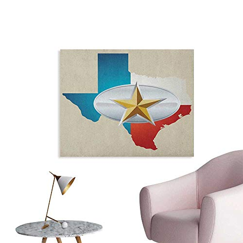Anzhutwelve Texas Star Wallpaper Cowboy Belt Buckle Star Design with Texas Map Southwestern Parts of America Wall Poster Multicolor W32 xL24
