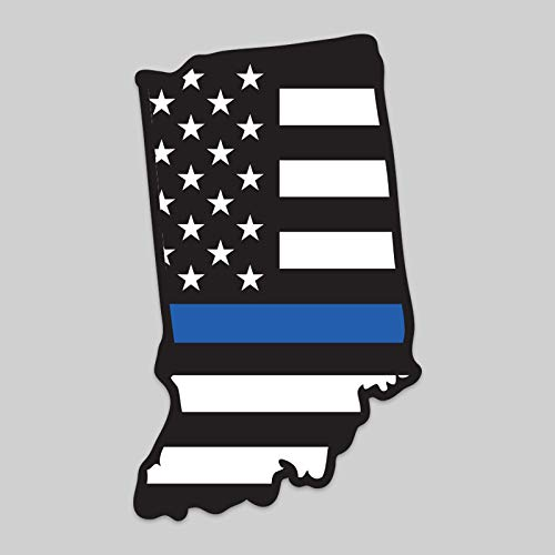 JMM Industries 2-Pack Indiana State Outline American Flag Overlay Thin Blue Line Vinyl Decal Sticker   5-Inches   Premium Quality Vinyl Decal   Laminated with UV Protective Laminate   PDS2808