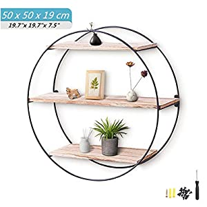 king do way Floating Shelves Decorative Round Shelf Storage Organiser Wooden & Black Metal wall Mounted Multi Unit Shelving Industrial Modern Rack Frame with Iron and Wood Display Bookshelf