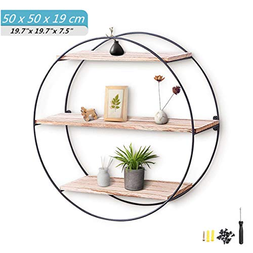 (Round Wall Shelf king do way Rustic Wood Floating Shelves,Decorative Wall Shelf for Bedroom, Living Room, Bathroom, Kitchen, Office and More (Round))