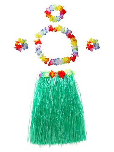 CISMARK Women's Hawaiian Grass Hula Skirt Wears Set (Green 80cm, 5pcs/Set)