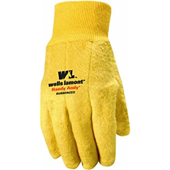 Wells Lamont Handy Andy Original Men's Chore Gloves with Rubber Lining, Large (635L)