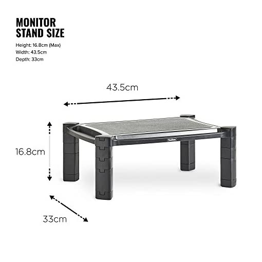 VonHaus Height Adjustable Monitor Stand for Desks – Screen Riser for Computers, Laptops & TVs – With Cable Management & Pen Storage