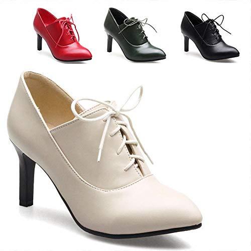 Alto Botas 40 5cm Ig 43 pulir 7 Martin 35 Mujer Individuales tacón botas Cordones Puntiagudas Calzado Botas 8qfCwpU