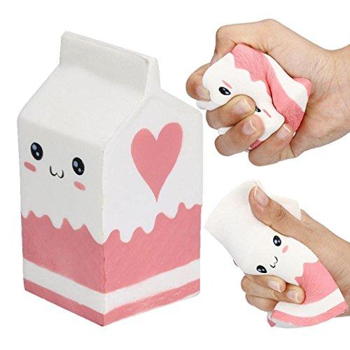 Makeupstore Slow Rising Squishies Jumbo Stress Relief Toys,12CM 5.5CM Cute Soft Pink Yogurt Bottle Super Slow Rising Kids Toy Love Stress Reliever Toys (Pink) ()