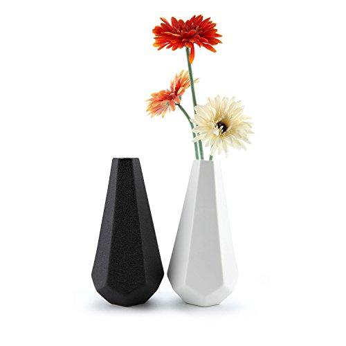 T4U Matte Ribbed Hexegan Ceramic Home Decor Flower Vase Set of 2