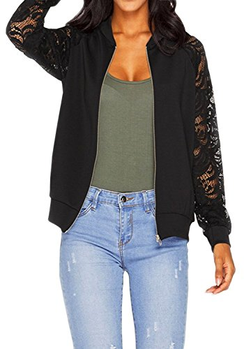 Dreamparis Women's Long Sleeve Lace Patchwork Bike Bomber Jacket Short Coat (Bomber Raglan Jacket Sleeve)