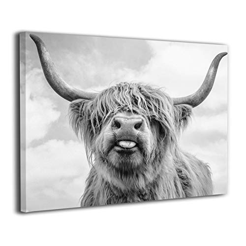 Canvas Print Wall Art Black and White Freedom Highland Cow Pictures Painting for Living Room Bedroom Modern Home Decor Ready to Hang Stretched and Framed Artwork 16''Hx20''W (Black Stuffed Cow)