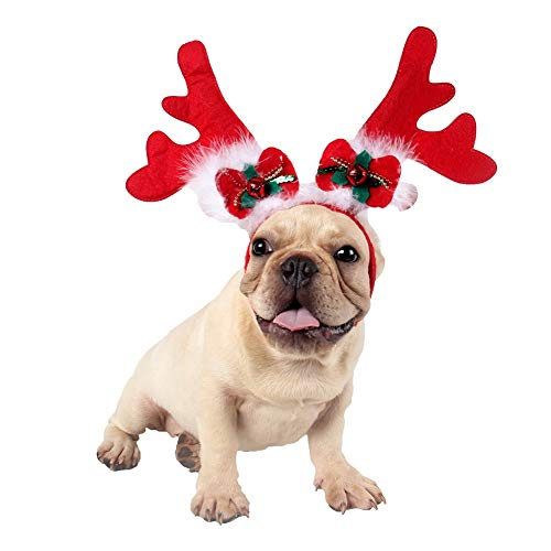 CheeseandU Pet Xmas Costume Dog Reindeer Antlers Headband Pet Deer Headwear with Bowknot Jingel Bells White Feather Decor Dog Puppy Cat Christmas Festival Party Costume Apparel Photo Props