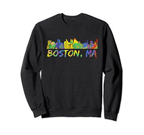 Unisex Boston Massachusetts Sweatshirt Skyline Paint Splash Sweats XL: Black Boston Design Studio