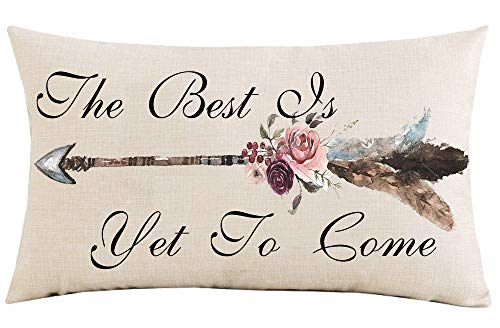 Jimrou Throw Pillow Cover 12x20 inches The Best is Yet to Come Inspirational Watercolor Bohemia Arrows Flowers Gifts Cotton Linen Decorative Home Sofa Chair Car Lumbar Throw Pillow Case Cushion Cover