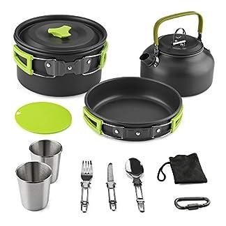 Aitsite Camping Cookware Kit Outdoor Aluminum Lightweight Camping Pot Pan Cooking Set for Camping Hiking 5