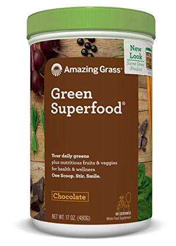 Amazing Grass Green Superfood, Chocolate, Powder, 60 Servings, 17oz, Wheat Grass, Spirulina, Alfalfa, Acai, Maca, Flax Seed, Detox, Active Cultures, Vitamin K, Greens, Probiotic