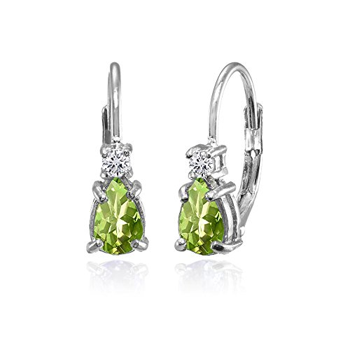 Sterling Silver Peridot and White Topaz Tiny Teardrop Huggie Leverback Earrings