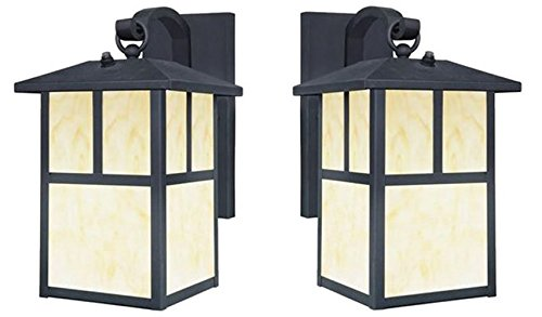 Westinghouse 6482900 Nova Scotia One-Light Outdoor Wall Lantern with Dusk to Dawn Sensor, Textured Black Finish with Honey Art Glass - Pack of -