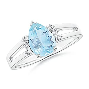 Cyber Monday - Solitaire Pear Aquamarine Ring for Women With Triple Diamond Accents in Platinum (9x6mm Aquamarine)