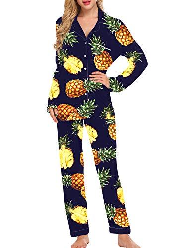 Alistyle Ladies pj Sets and Lounge Wear Long Sleeve Funny Pineapple Sleepwear Ladies Soft Loungewear PJ Set