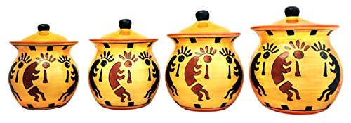 Western Kokopelli, Hand Painted Ceramic, 4pc Canister Set, 83203 By ACK