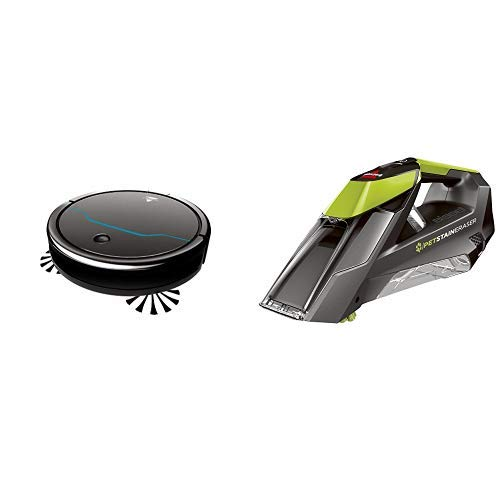 BISSELL EV675 Robot Vacuum Cleaner for Pet Hair with Self Charging Dock, 2503, Black and Pet Stain Eraser 2003T Cordless Portable Carpet Cleaner Green by Bissell