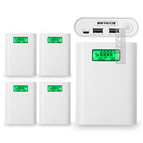 5 Pack NKTECH Portable E3s 4-Slot LCD External Power Bank 18650 Battery USB Charger Box For HUAWEI iPhone Samsung SONY HTC Android Cell (Power Lcd Flash Keychain)