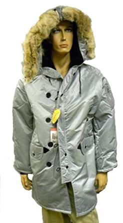 Corinth Mfg. N3B Nylon Arctic (Snorkel) Military Parka Silver Large. Made In The USA. With Real Coyote-Fur Trim Hood.