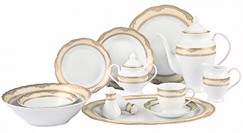 57 Pc Dinnerware Set Gold Border Lorenzo Isabella Porcelain