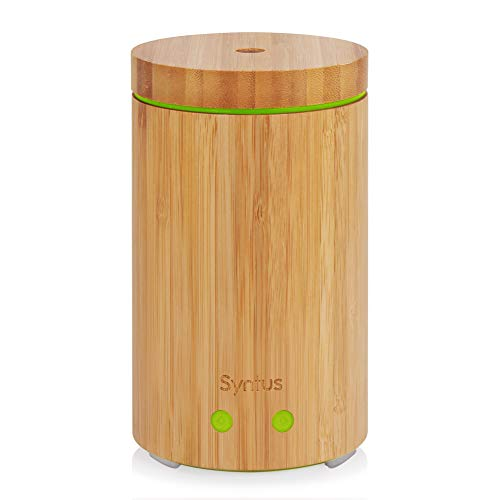 Syntus Essential Oil Diffuser, Real Bamboo Diffuser 160ml Ultrasonic Aromatherapy Diffusers with 7 LED Colorful Lights, Waterless Auto Shut-Off