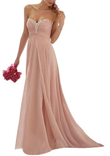 Vougemarket® A-Linie Lang Chiffon Perlen Herz-Ausschnitt Abendkleid Ballkleid Brautjungfernkleid Blush 38