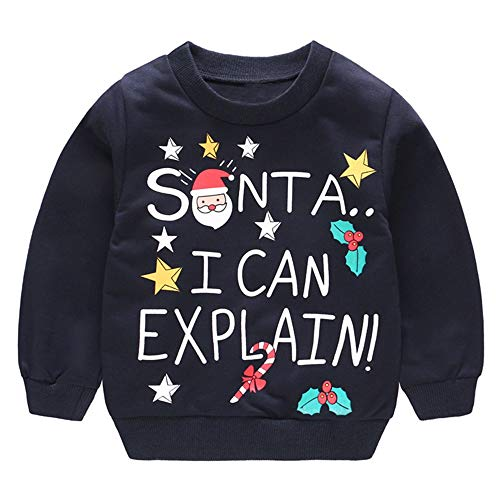 Iuhan  Baby Christmas Tops Outfit for 1-4Years Boys Girls, Toddler Girl Boy Long Sleeve Cartoon Christmas Santa Elk Snowman Print Pullover Tops Blouse (3-4Years, Navy) -
