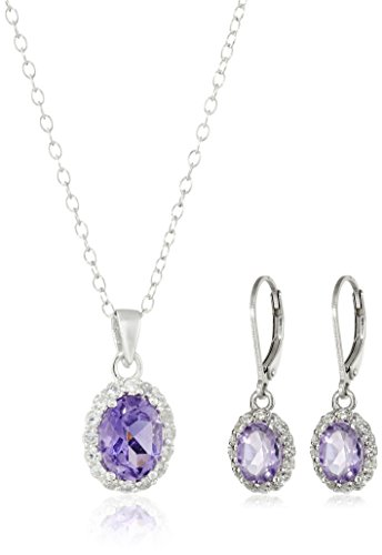 (Sterling Silver Amethyst Pendant Necklace and Earrings Jewelry Set)