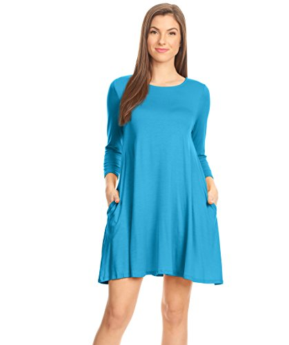 Blue Dress Turquoise - Casual T Shirt Dress for Women Flowy Tunic Dress with Pockets Reg and Plus Size - USA (Size X-Large, Turquoise 3/4 Sleeve)