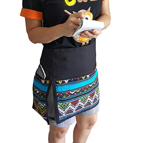 (TG888 Chic Half Short Waitress Apron Novelty Printed Blue Striped Cafe Bar Pub Workwear Restaurant Kitchen Hairdresser Artist)