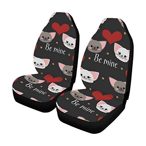 InterestPrint Custom Red Heart Cat Car Seat Covers for Front of 2,Vehicle Seat Protector Car Pet Mat Fit Most Car,Truck,SUV,Van ()