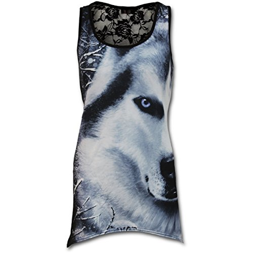 Spiral Damen All Over Print Top mit Spitze - White Wolf Girlie Lace Vest