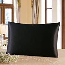 Townssilk Both Side 100% 19mm Silk Pillowcase King Size Pillow Case Cover envelope closure Black