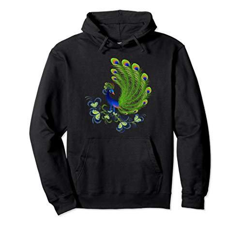 Majestic Peacock Feathers Bird Floral Nature Artwork Hoodie