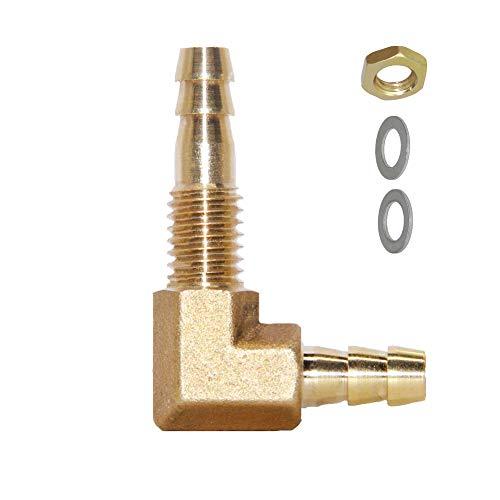 Joyway 1/4''ID Hose Barb Thru-Bulk Head Hex 90 Degree L Right Angle Elbow Union Brass Fitting Water/Fuel/Air